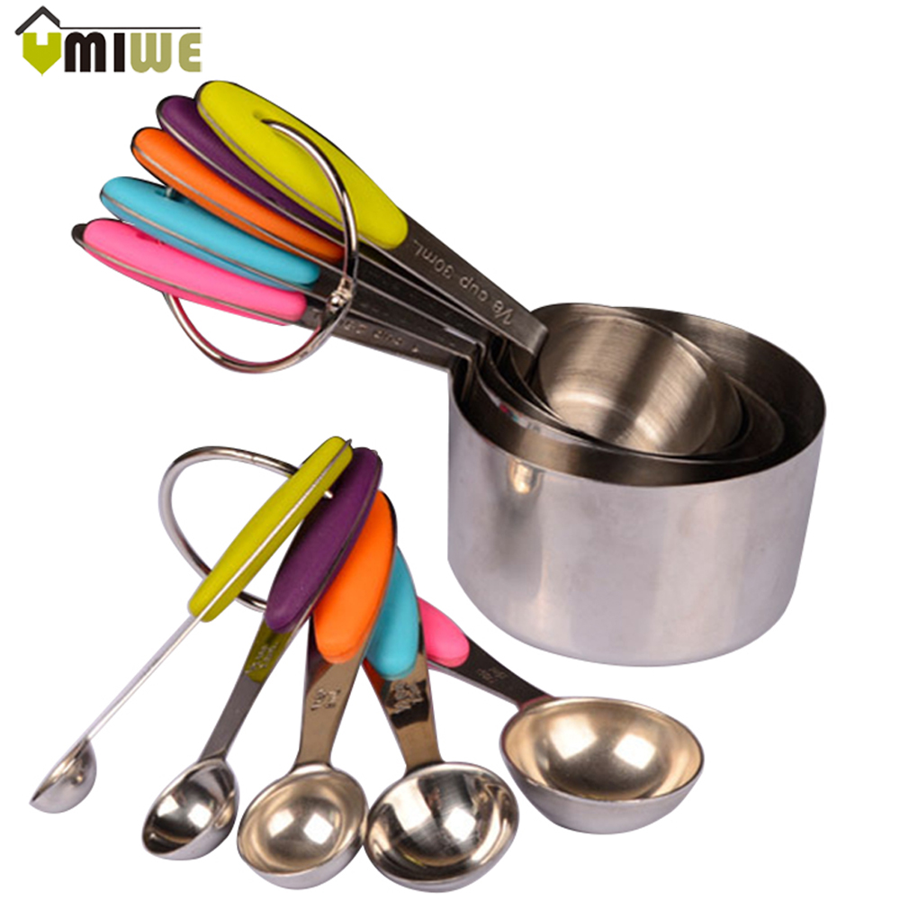 10pcs/set Kitchen Tools And Cooking Stainless Steel <font><b>Measuring</b></font> <font><b>Cups</b></font> <font><b>Measuring</b></font> Spoon Scoop Set Spoons With Scale Silicone Handle