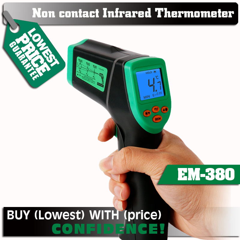 ELECALL EM380 Laser LCD Digital  Non-Contact  -32-380C 12:1 Infrared Thermometer Temperature Meter Gun Temp  0.1~0.99 Adjustable tasi 8606 infrared thermometer 32 380 degrees infrared thermometer non contact thermometer industrial and household