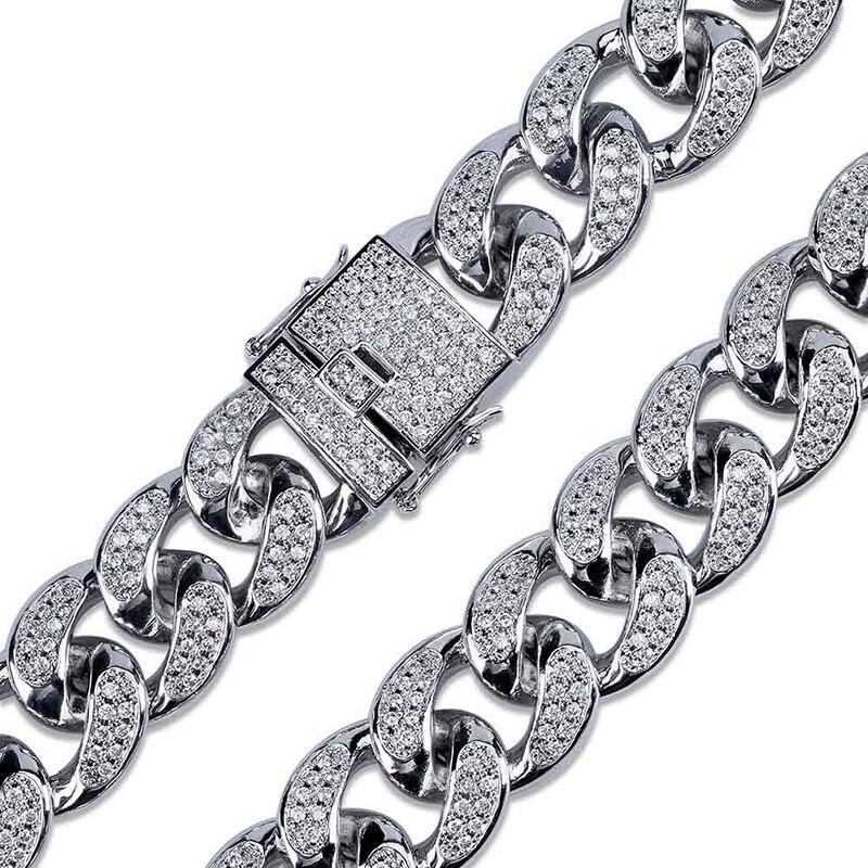 MISSFOX HÜFTE Hop Jewelers 18mm USA Männer Iced Out 24K Gold Überzogene Ton Künstliche CZ Miami Kubanischen Link kette Choker Halskette 18 22 - 5