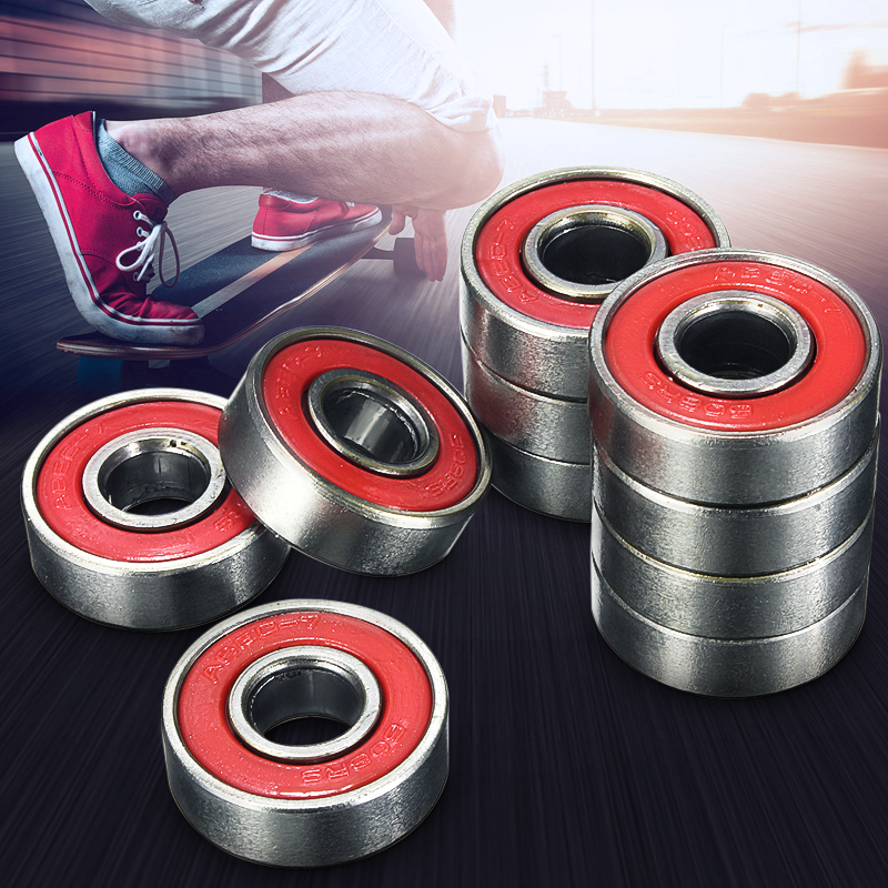 10x ABEC-5  608 2RS Inline Roller Skate Wheel Bearing Anti-rust Skateboard Wheel Bearing Red Sealed 2.1 x 2.1 x 0.7cm shaft