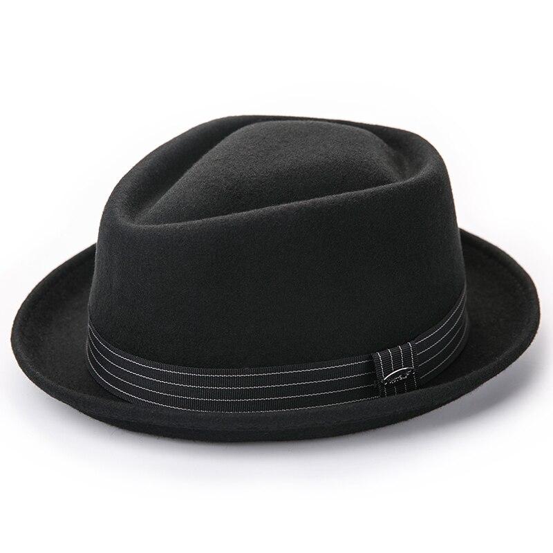 Image 4 - Sedancasesa New Europe England Style Autumn Winter Hat For Men Fedora Hat pork pie Mans Wool Felt Male Fedoras Vintage CapMens Fedoras   -