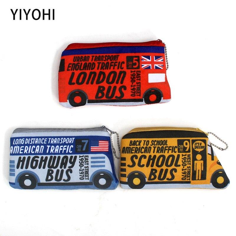 Hot On Sale 3 Colors Kawaii Cartoon Bus Children Plush Coin Purse Zipper Change Purse Mini Wallet Kids Girls Women For Gift
