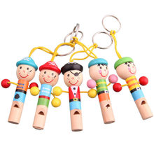 Hot Mini Wooden Pirate Whistle Musical Toys Gift Developmental Toy For Baby Kids Lovely Doll Keychain Instrument Toy(China)