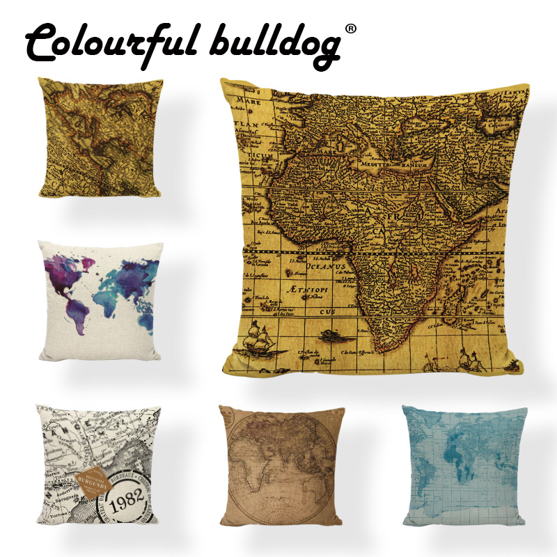 Old World Map Throw Pillow Case Water Earth Letter 43*43cm Cushion Cover America Flag Stars Clock Decorate Living Room Couch