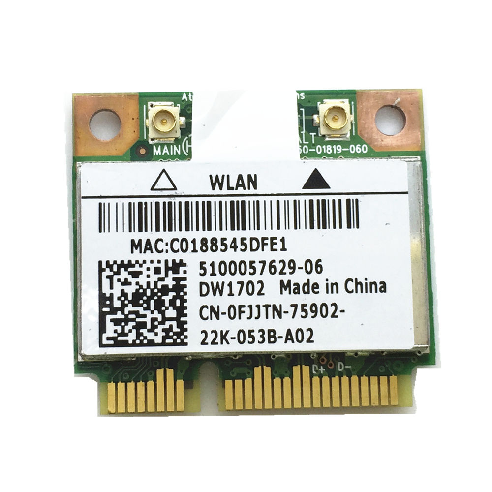 Atheros AR9285 AR5B195 DW1702 Half Mini PCIe WLAN BlueTooth Card For 14R 15R N4010 N5010