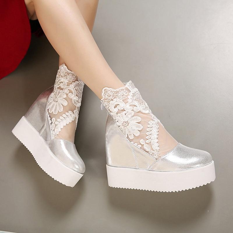 Image 5 - New Wedge Heel Sandals Muffin Platform Raised Non slip Waterproof Thick Round Loop bottomed Shoes Open Toe High Heels WomenWomens Pumps   -