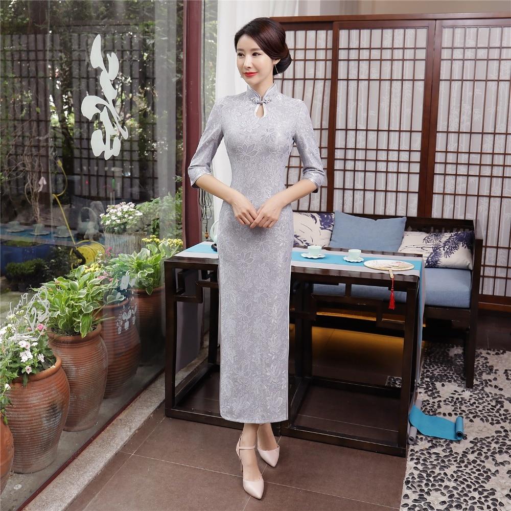 Shanghai histoire trou de serrure chinois robe longue Cheongsam velours Qipao dentelle orientale robe 3/4 manches velours Vintage Cheongsam