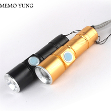 ФОТО 2300lm usb handy led torch usb flash light pocket led rechargeable flashlight zoomable lamp for hunting