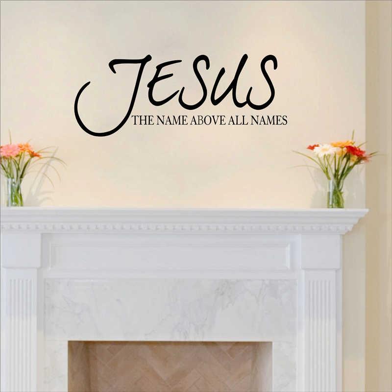 Isa Adı Her Şeyden önce Isimleri Alıntı Duvar çıkartma Vinil İncil Ayet Dini Dua Yazı Duvar Çıkartması Ev duvar süsü Duvar