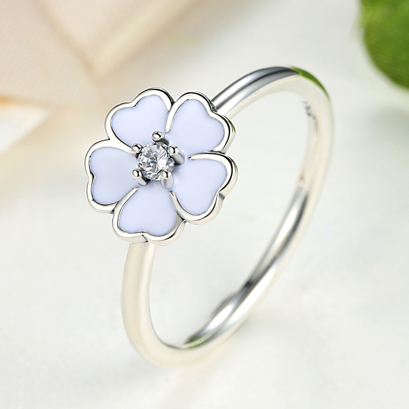 flower shaped stackable ring cherry blossoms white enamel 925 sterling silver ring for women fashion compatible jewelry - Egyptian Wedding Rings