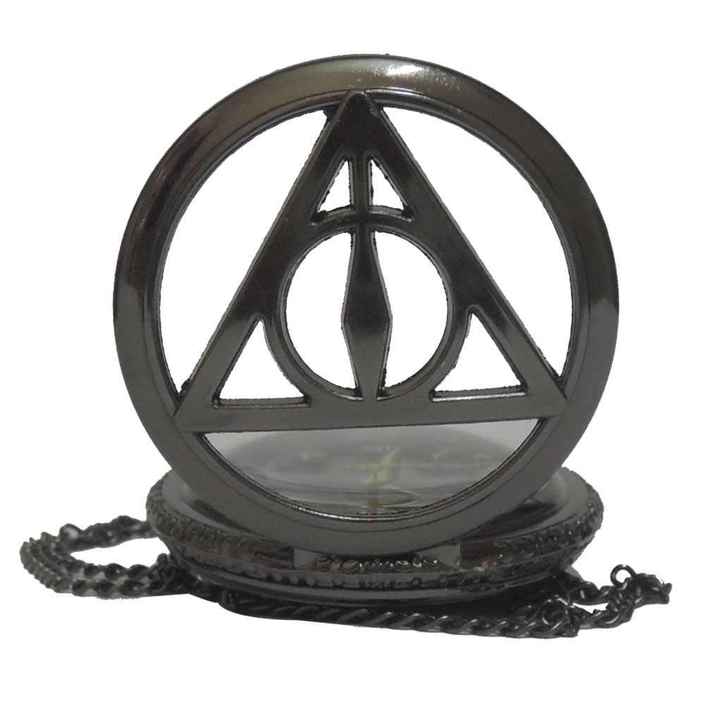 Черный Гарри Поттер и Дары смерти характер циферблат кварцевые карманные часы аналоговый кулон цепочки и ожерелья мужские женские часы под...