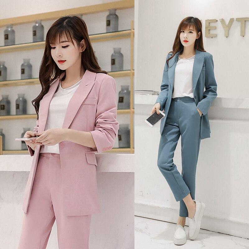 Blazer Veste Solide Pantalons Court Pièces Dame Coréenne Taille bleu Ensembles Deux Femmes Haute Costumes Tenues Bureau Pantalon 2 Pink Femme Entaillé wqfAYYO
