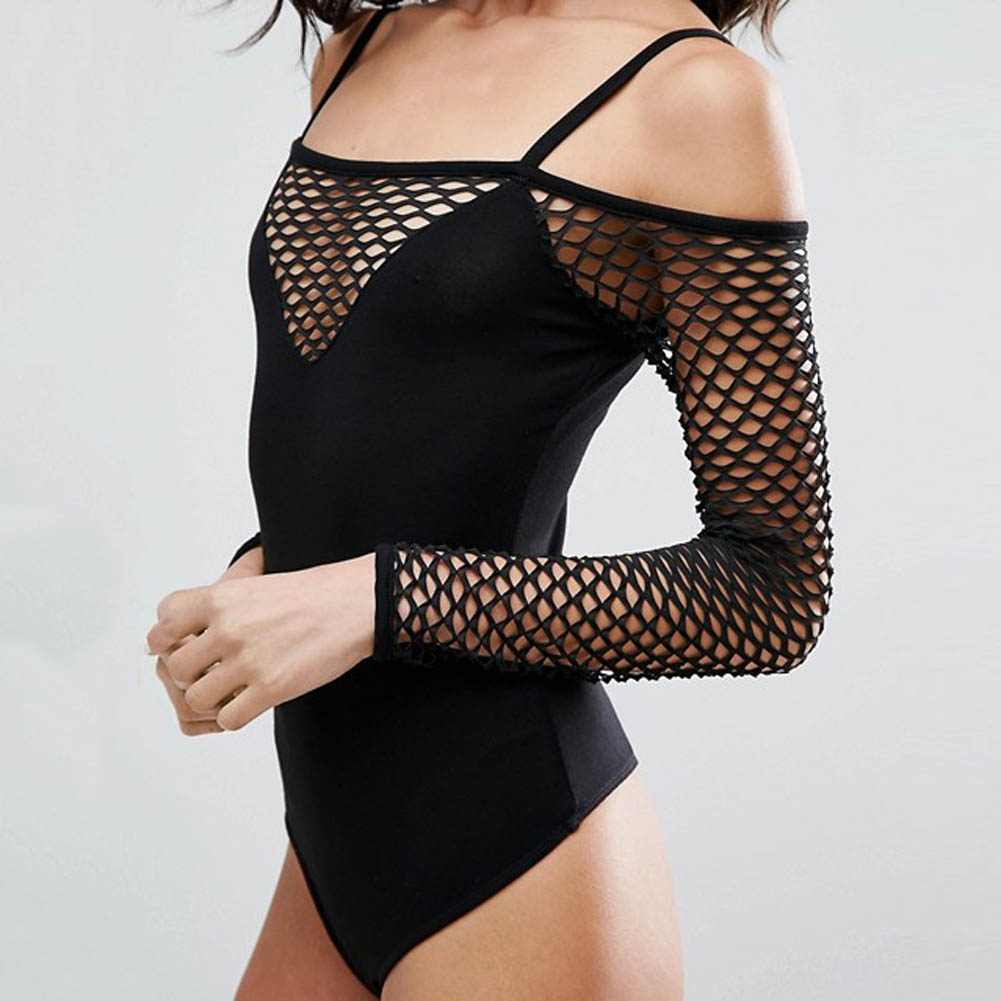 Sexy Grid Stitching One-piece Garment T-shirt Black Color For