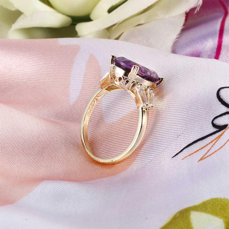 925 เงินสเตอร์ลิงแหวน Solitaire Big สร้างรูปไข่สีม่วงงานแต่งงานแหวนเครื่องประดับของขวัญวันวาเลนไทน์