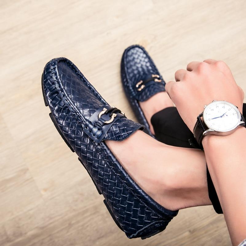 Condução Masculinos Couro Black Verão azul Juventude marrom Vestido Respirável Tecido Sapatos Nova Bonito Peas Tendência De XfqRvwR