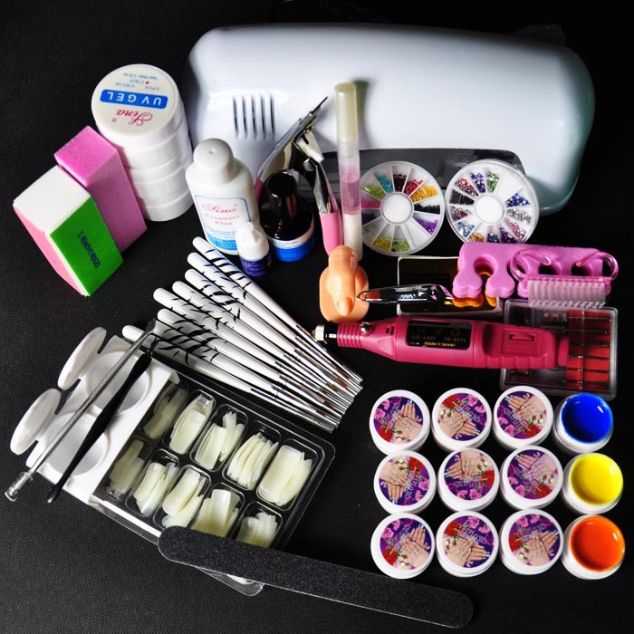 9W UV White Lamp Nail Art UV Gel Kits Tool 12 Colors UV gel Nail Tips Glue Acrylic with Electric File Drill nail art phototherapy uv gel nail builder tips glue multicolored 12 pcs