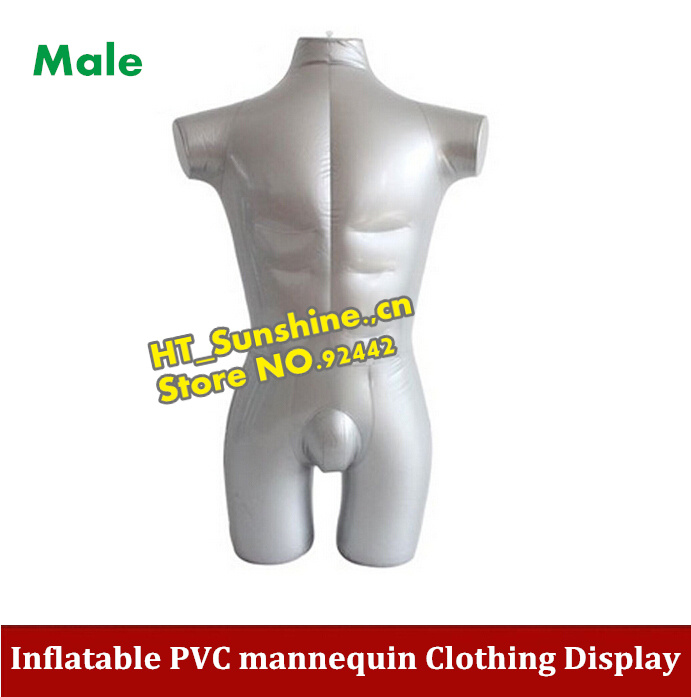 High Quality Inflatable PVC mannequin upper body + half lower body, male inflated model/clothing display props