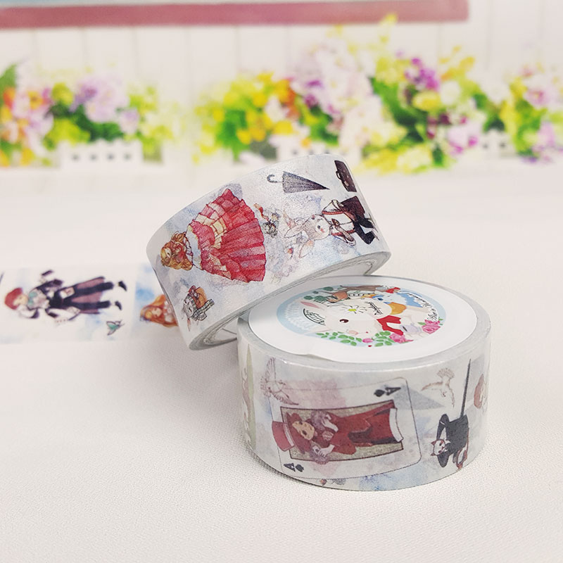 2cm*7m Alice Washi Tape Sticker Kawaii Stationery Scrapbooking Planner Masking Tape Office Adhesive Tape DIY Decoration Tape