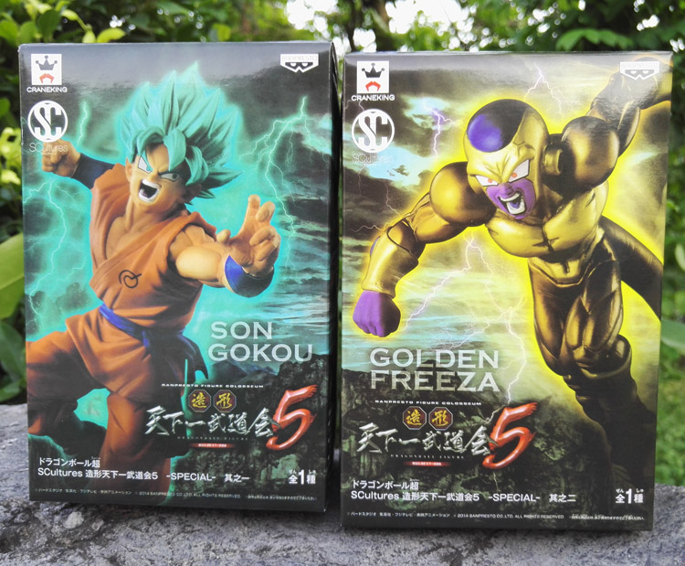 Dragon Ball Z 2pcs/set Resurrection F Budokai 5 Blue Goku Battle Ver Gold Frieza PVC Action Figure Model Collectible Toy Gift