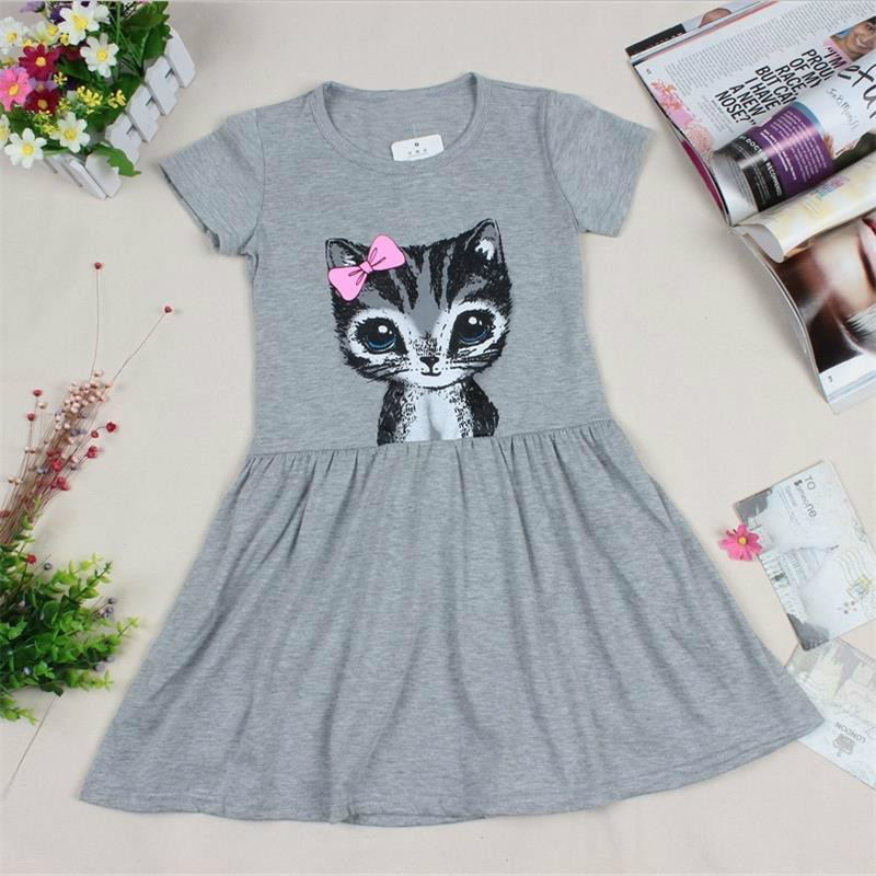 B&N Hot Sale Summer Cute Girl dresses Cat Print Fashion Baby Girl Dress Grey Pink Cotton Children Clothing14