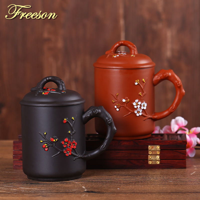 Retro Traditional Chinese Wintersweet Purple Clay Tea Mug with Lid Infuser Handmade Yixing Zisha Tea Cup 440ml Teacup Gift Mug