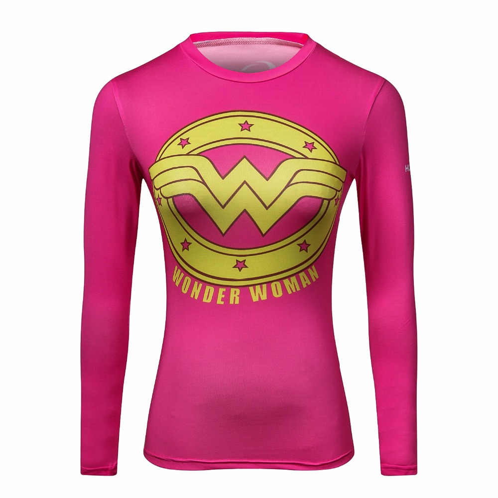 High quality Women T-shirt Bodys Marvel costume Superman T Shirt Long Sleeve Girl Fitness Tights Compression tshirts
