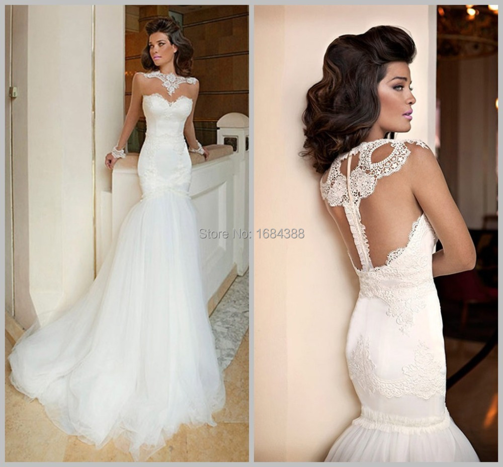 Custom made elegant sheer lace sweetheart mermaid wedding for Custom mermaid wedding dress