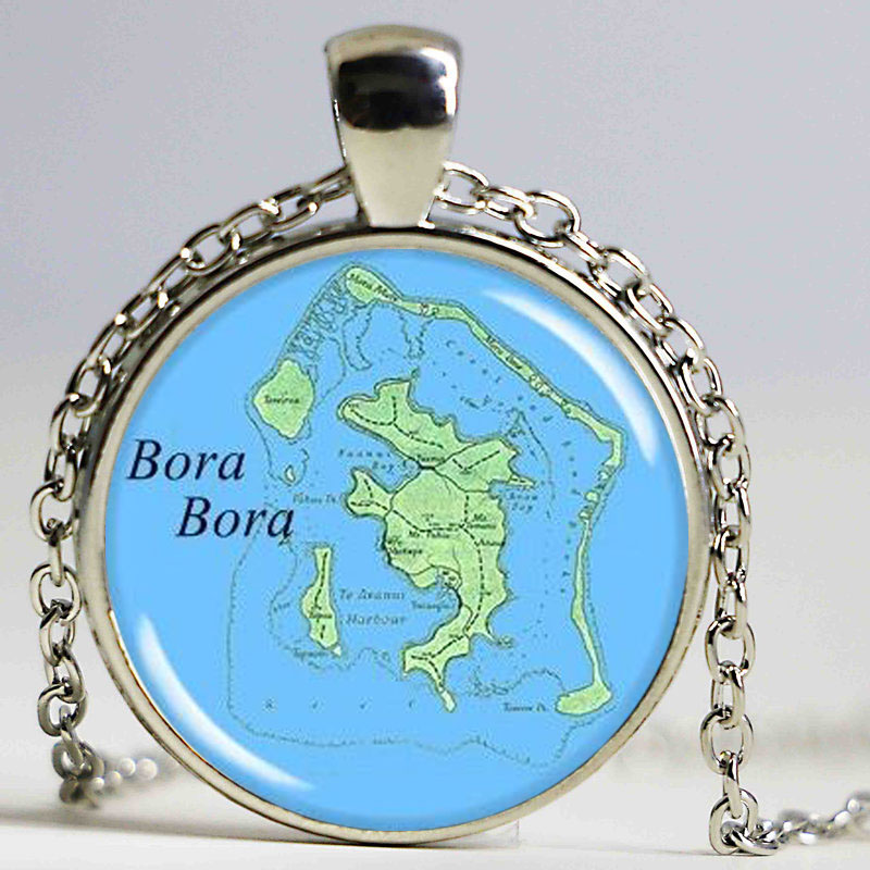 Us 2 99 Bora Bora Map Pendant Bora Bora Island Map Necklace French Polynesia Picture Jewelry Round Silver In Pendant Necklaces From Jewelry