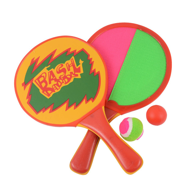 The wooden One Pair Beach Racket  Set / Boy And Girl Physical Training Beach Racket &1 Pair Beach Cricket Bat And 2 Piece Ball