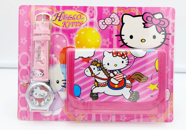 2018 new kittty kids Watch Digital watch Wallet for kids Girls watches Cute Unic