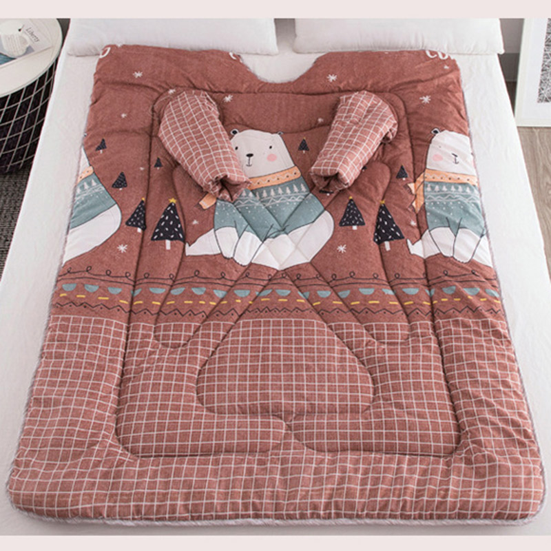 Lazy Quilt With Sleeves Blanket Cape Cloak Nap Blanket Dormitory Mantle 150x200cm E2S
