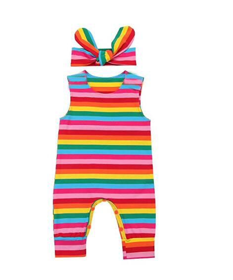 Rainbow Newborn Baby Girl Summer Romper 2018 Multi Color Sleeveless Baby Onesie Jumpsuit Bebe Clothes Newborn Girl With Headband