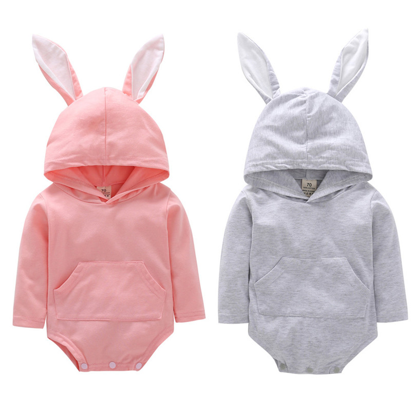 2018 Baby Clothes Baby Romper Toddler Infant Baby Girl Boy Cartoon Rabbit Ear Long Sleeve Hooded Jumpsuit Romper Clothes JY12#F (2)
