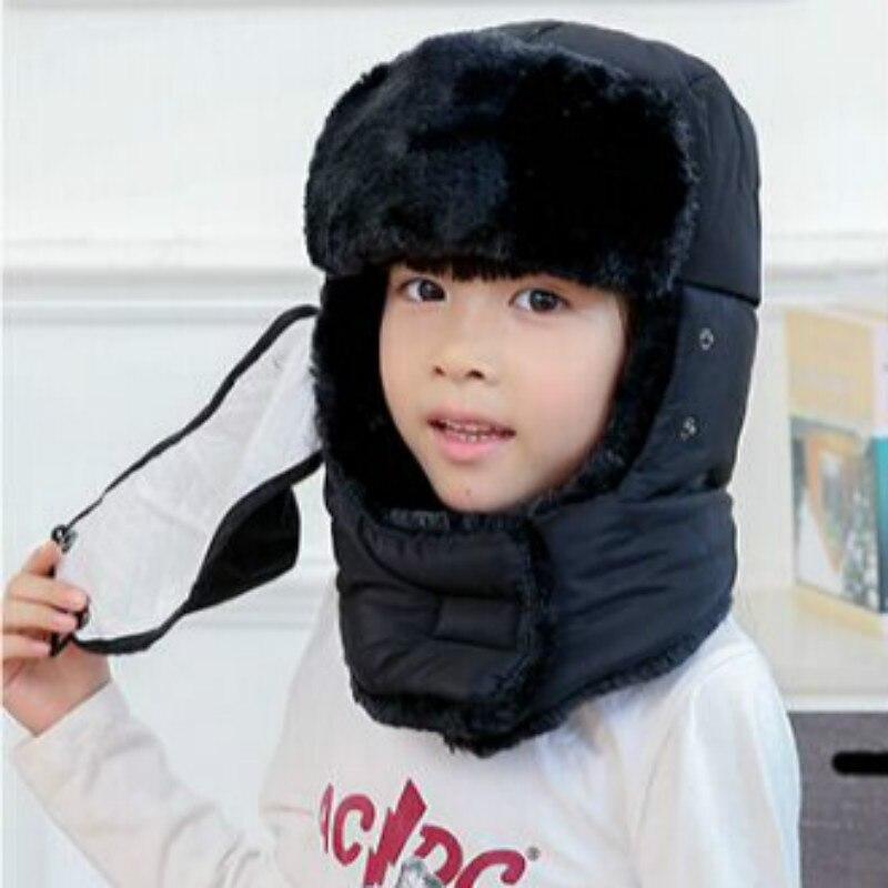 Которая в душе семья мех бомбер шляпа для женщин и мужчин ушные щитки Русская Шапка Детская уличная теплая утолщенная зимняя шапка с шарфом маска - Цвет: kids black
