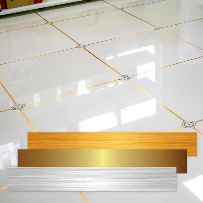 1 rolle Boden Aufkleber Gold Folie Fliesen Naht Aufkleber an die Boden Linie Selbstklebende bad Wasserdicht fliesen decals decor F