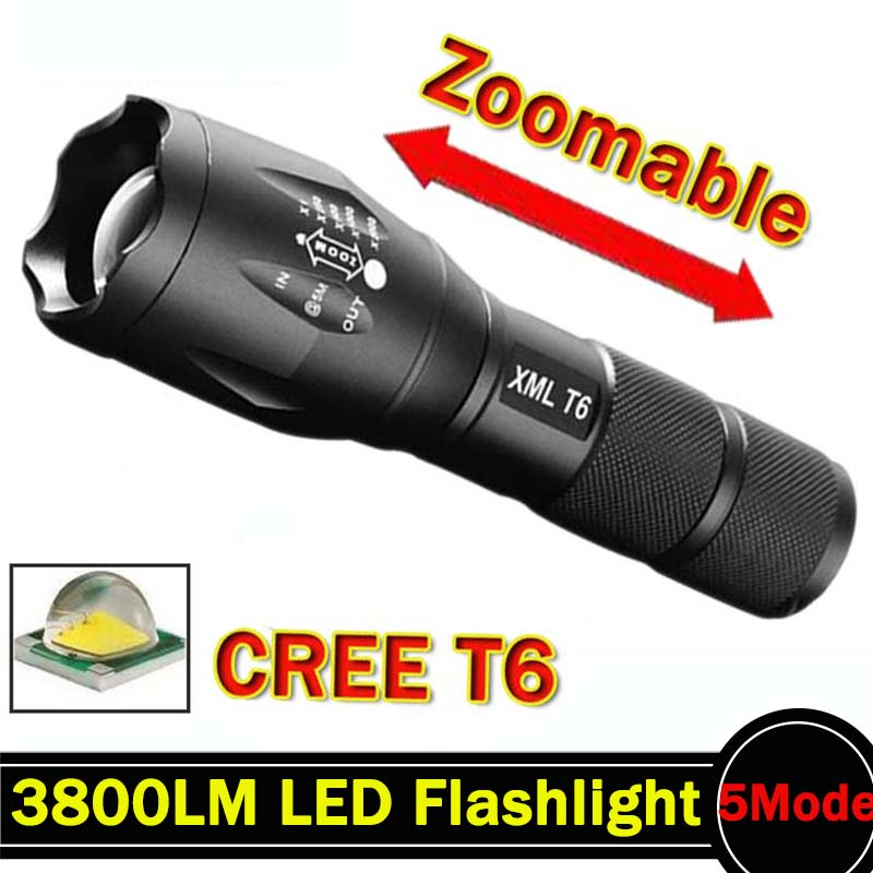 LED Flashlight 3800 Lumnes XM-L T6 LED Tactical Flashlight Torch 5Mode Zoomable Flashlight Waterproof Torch Light lanternas zk35 cree xm l 3800 lm q5 led flashlight torch zoomable light black led bicycle light with battery and charger holder