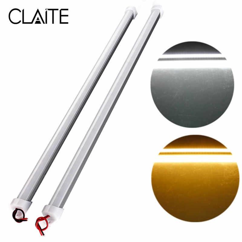 CLAITE 36 светодиодный свет бар DC12V 50 см SMD 5730 жесткой Светодиодные ленты Light 6,4 W чистый белый теплый белый водонепроницаемая лампа дневного света с крышкой