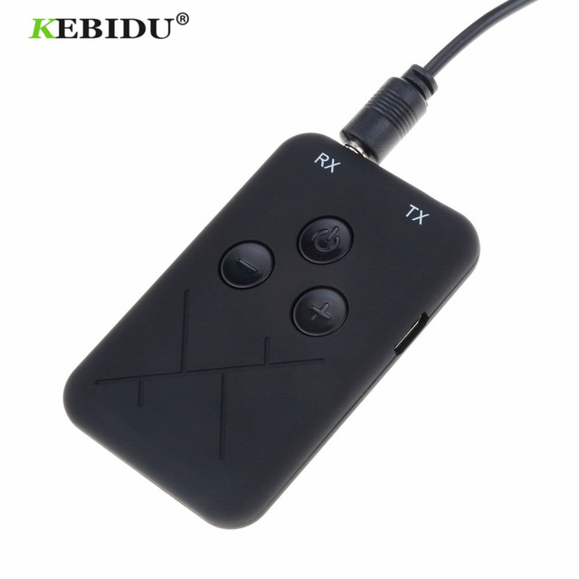 Kebidu 3.5mm Audio Wireless Bluetooth Transmitter Receiver Adapter 2 in 1 Stereo Audio Music Adapter Cable for TV Car Speaker
