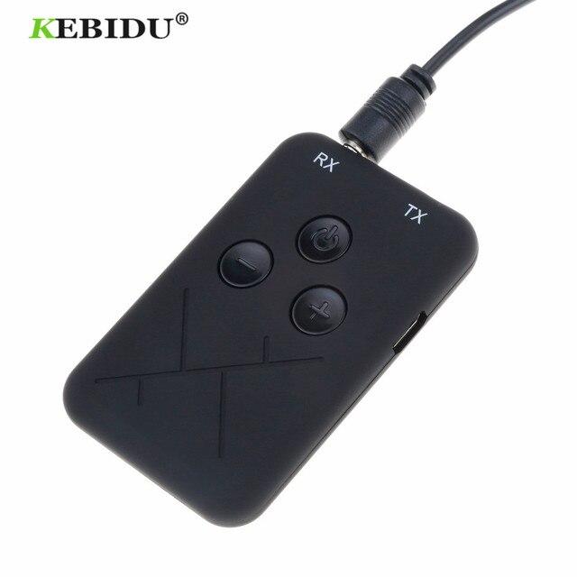 Kebidu 3.5mm Audio sans fil Bluetooth émetteur récepteur adaptateur 2 en 1 stéréo Audio musique adaptateur câble pour TV voiture haut parleur