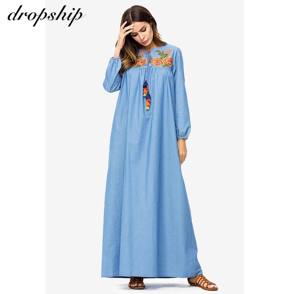 Прямая поставка повседневные джинсовые высокие женские макси длинное платье Цветочная вышивка кисточка дизайн Свободное платье осень плюс размер приталенная посадка
