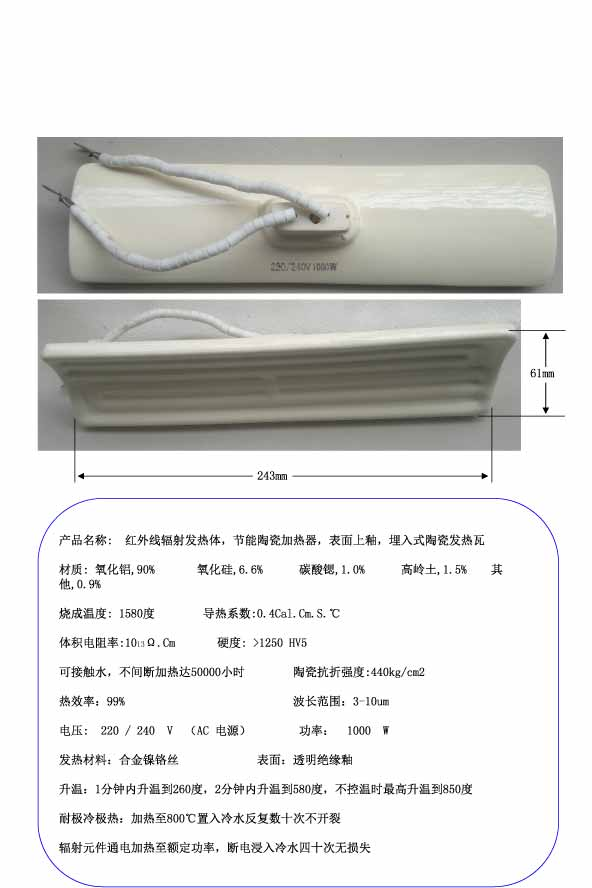 Infrared radiation heating body, energy saving ceramic heater, surface glazing, embedded ceramic heating tile materials surface processing by directed energy techniques