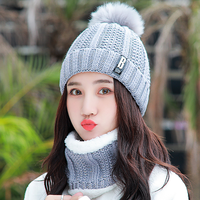 Neck Warm Balaclava Knitted Winter Hat Big Fur Pom Poms Ball Knitted Hats Scarf Set Women Beanie Hat Thick Skullies Female Cap