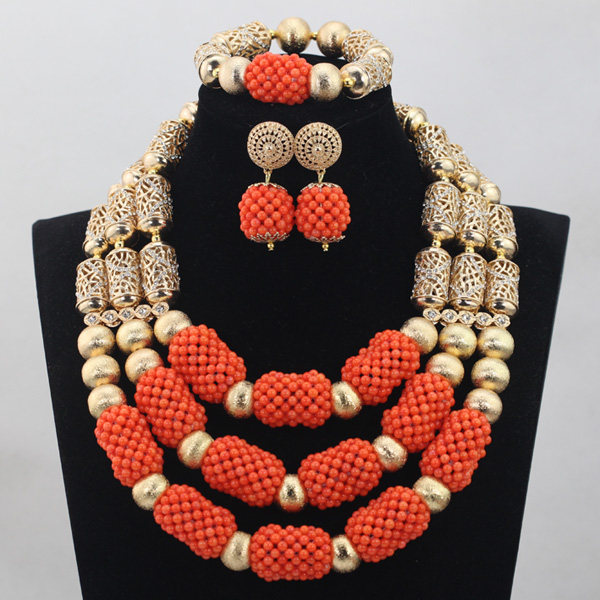 Unique African Coral Beads Jewelry Sets Gold Mix Orange 3 offers Handmade  Necklace African Accessory Free Shipping CJ785