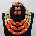 Unique African Wedding Gold Mix Orange 3 Rows Handmade Coral Beads Jewelry Set Necklace African Accessory Free Shipping CJ785