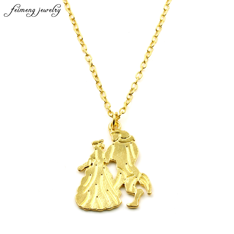 2017 New Movie Jewelry Beauty and the Beast Necklace for Women Prince Princess Charm Pendants Necklaces Chain Accessories Gifts