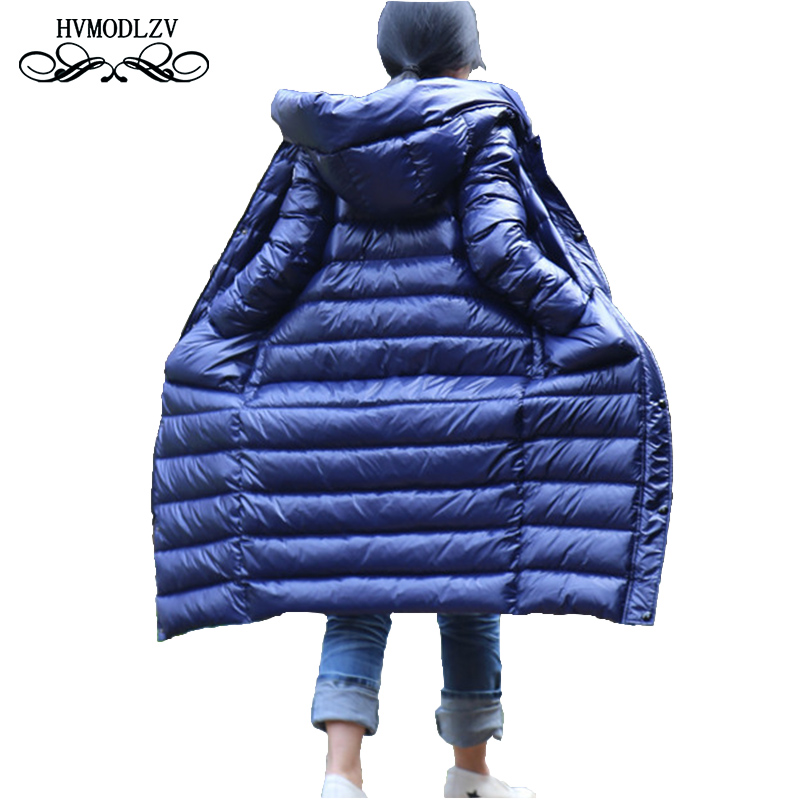 2018 Winter New plus size long Down coat women Fashion Hooded Female White duck down jacket Chaqueta mujer sobretudo lj170