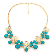 Ahmed Jewelry Good Fashion 6 Colors Flower Maxi necklace For Woman 2015 New statement necklaces & pendants Woman 2015 New H127
