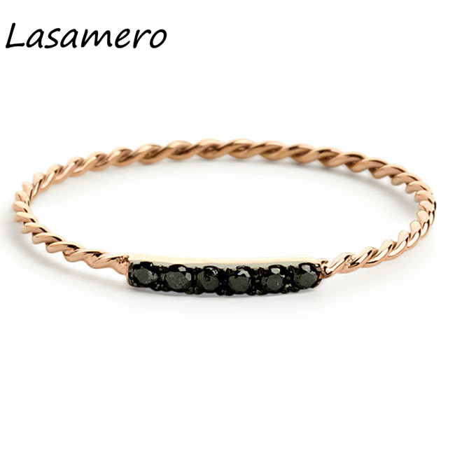 Fine Jewelry Rings Confident Lasamero Round Cut 0.05ctw Natural Black Diamond 14k Gold Twisted Engagement Promise Wedding Ring Band Gift For Her Lover 1pc Crease-Resistance