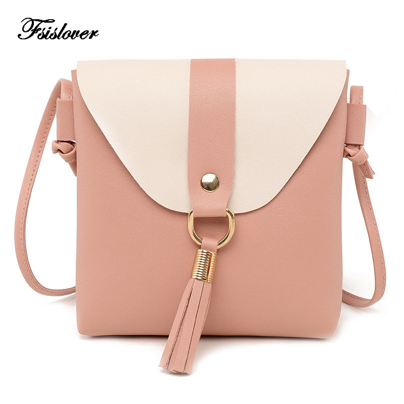 FSISLOVER nueva PU mujeres bolso cubo moda paneled Tassel Crossbody bolso femenino bolsa de mensajero pequeños bolsos