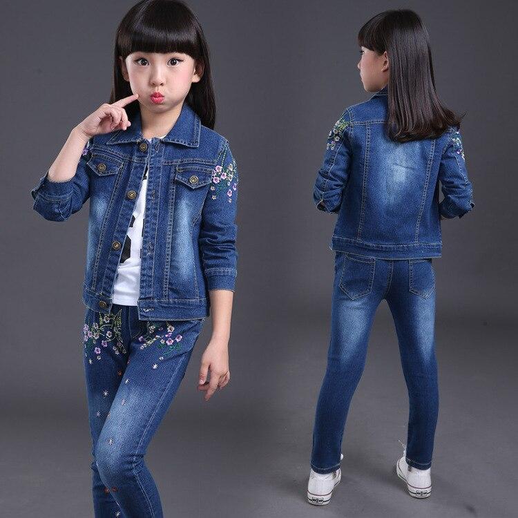 2017 Spring Autumn Children's Clothing Girls Suit Cowboy Jacket + Denim Pants 2 Pcs Fashion Baby Boys Denim Clothing Kids Set